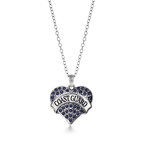 - Inspired Silver - Coast Guard Charm Necklace for Women - Silver Pave Heart Charm 18 Inch Necklace with Cubic Zirconia Jewelry