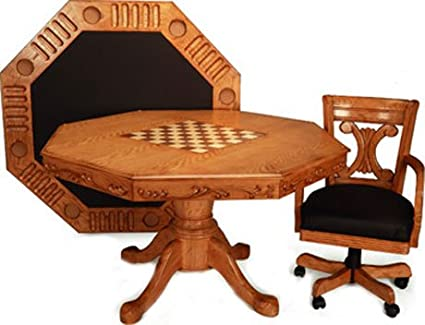 Imperial 3 In 1 Poker Table Set With Oak Finish With 4 Chairs Design