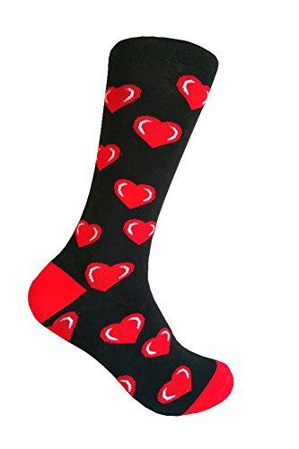 Triple M Plus Men's Red Hearts on Black Dress socks .