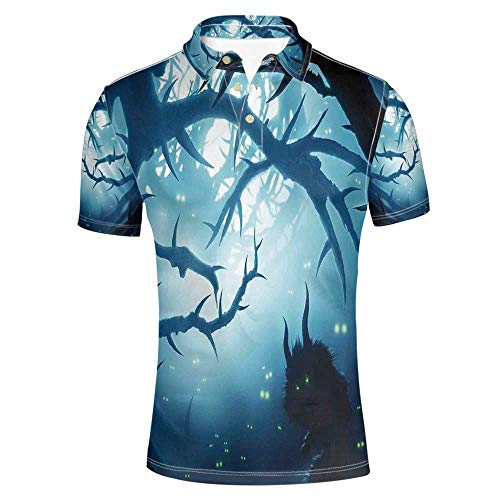 Mystic House Decor Stylish Polo Shirt,Animal with Burning Eyes in Dark Forest at Night Horror Halloween Illustration for -