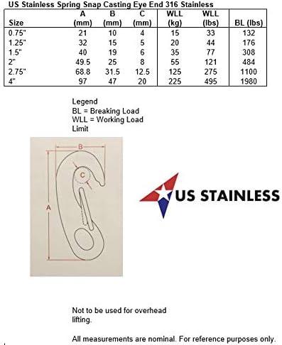10 piezas de acero inoxidable 316 Spring Gate Snap Hook Clip 2 Marine Grade langosta Claw