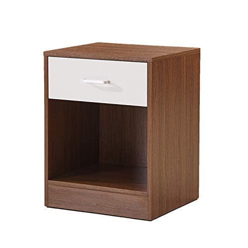 Night Stand/Accent Table with Drawer and Cabinet for Storage (BASS-1OAK-DC-Oak)