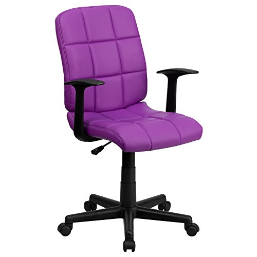 Flash Furniture Mid-Back Purple Quilted Vinyl Swivel Task Chair with Arms