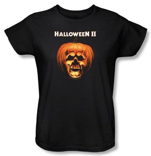 Halloween II Ladies T-shirt Movie Skull Pumpkin Shell Black Tee Shirt, (Halloween Laurie Strode)