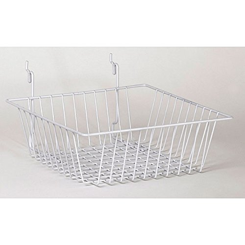 Wire Basket Slatwall Gridwall Pegboard Display Fixture 12''W Lot of 6 White NEW