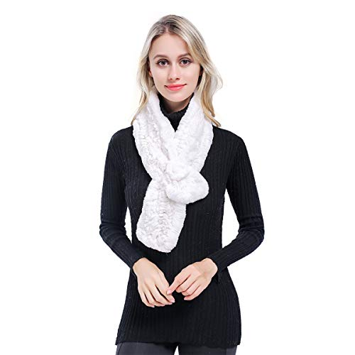 MEEFUR Women's Real Rex Rabbit Fur Scarves Rose Design Winter Neck Warmer Knitted Flower Neckerchief White