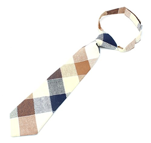 Kids Cotton Formal Necktie Tie Modern Large Checker Pattern Light Bright Colors - Camel/Navy/White