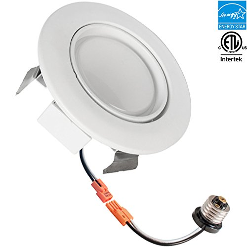 4-inch LED Gimbal Recessed Retrofit Downlight, 10w, 3000k, 650 lumens, CRI 91, Warm White, Round Lens, ETL listed, EnergyStar, Dimmable (Led Can Light Eyeball compare prices)
