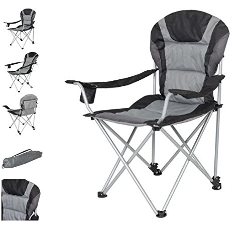 Quality Chair - Folding Portable Chair - Camping Gear - Reclining Function with Cup Holder - Lightweight and Durable - Camping Fishing Garden Beach Chair