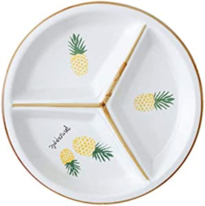 Round Ceramic Porcelain Divided Dessert Salad Plate Dinner Plate Divided Porcelain Dinner Plate Portion Control Plate for Adults and Kids (Yellow)