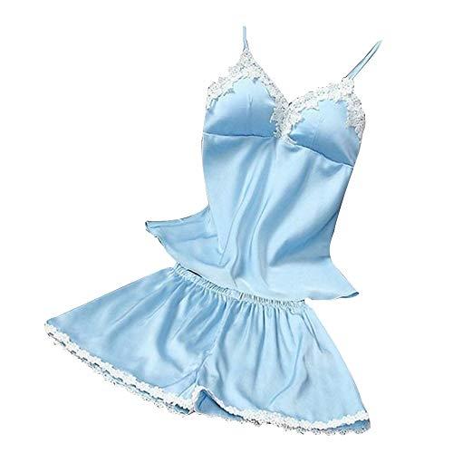 NRUTUP 2PC Lingerie Women Babydoll Nightdress Nightgown Sleepwear Underwear Set (Blue,M)