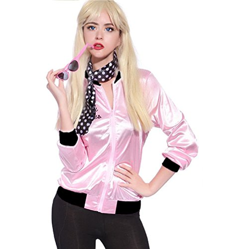 Crystalbella 1950s Pink Satin Ladies Jacket with Neck Scarf T Bird Women Danny Halloween Costume Fancy Dress (T Bird And Pink Lady Costumes)