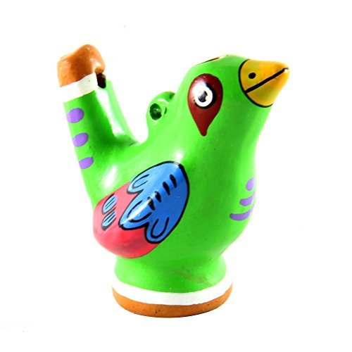 Beautiful Chirping Ceramic Ocarina Whistle Bird - Clay Fired and Hand-Painted in Peru (1 Green (Clay Whistle)