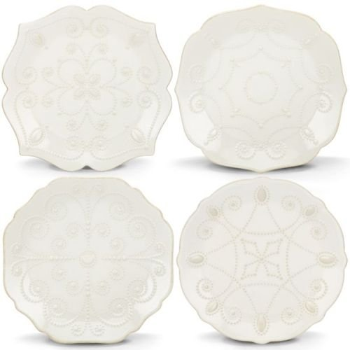 Lenox French Perle Assorted Plates, 7.5-Inch, White, Set of 4 - - Inch Salad 7.5 Diameter Plate
