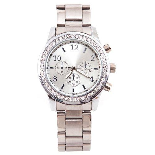 Elegante Damen & Herren Armbanduhr Edle Uhr Silber Strass Watch