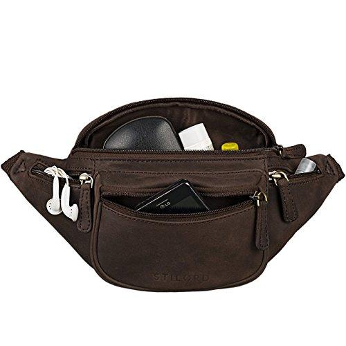 STILORD 'Eliah' Vintage Bolso de Pecho Bolso Bandolera de Cintura con correa Vintage Riñonera para móvil & la cámara digital, de cuero auténtico de búfalo, Color:marrón oscuro - opaco marrón oscuro - opaco