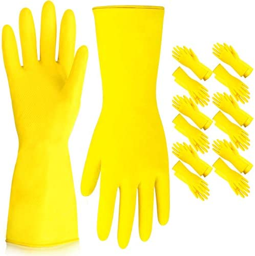 [12 Pairs] Dishwashing Gloves – 11.5 Inches Medium Rubber Gloves, Yellow Flock Lined Heavy Duty Kitchen Gloves, Long Dish Gloves for Household Cleaning, Gardening, Utility Work Hand Protection