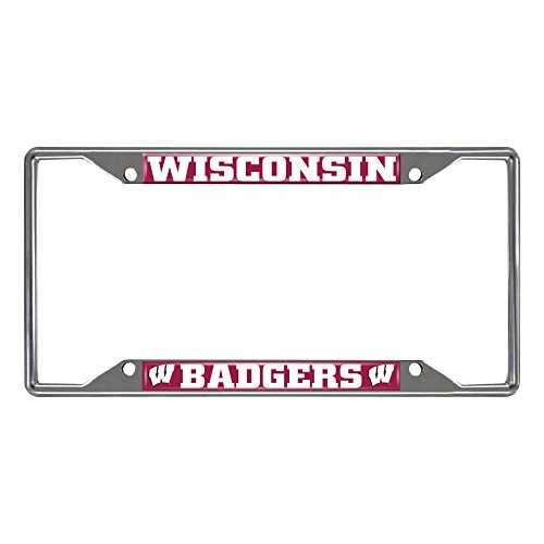 FANMATS NCAA University of Wisconsin Badgers Chrome License Plate Frame University License Plate Frame