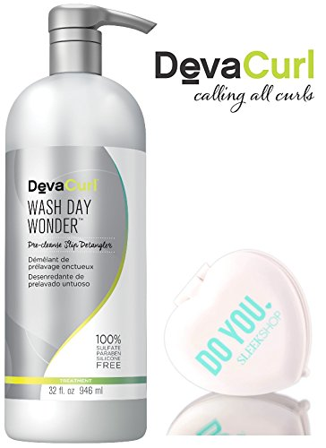 DevaCurl WASH DAY WONDER Pre-Cleanse Slip Detangler for ALL CURL TYPES (with Sleek Compact Mirror) (32 oz/946 ml)