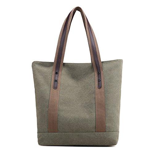 Lady bags Bolsa de Lona para Mujer con Bolsa de Hombro, Bolsa de Mano Pequeña y Fresca, 32 x 36 x 12 cm, Marrón ArmyGreen