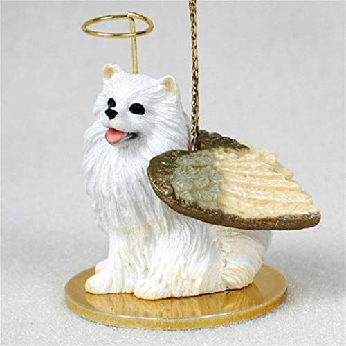 Ky & Co YesKela Mini American Eskimo Ornament Angel Figurine Hand ()