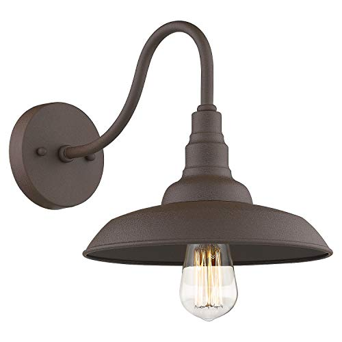 Emliviar Barn Light Farmhouse Gooseneck Light Wall Sconce 10 inch, Oil Rubbed Bronze Finish, 523