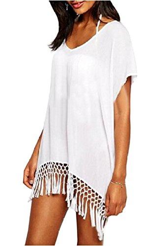 Relipop Women's Swimwear Knitted Crochet Long Tunic Tops Cover up Beach Dress (One Size, White)