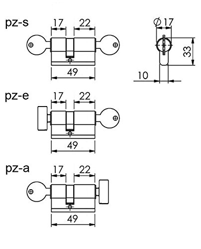 PZ-S Profilzylinder 22//27 f/ür Glast/ür Dreht/ür 8mm inkl 3 Schl/üssel