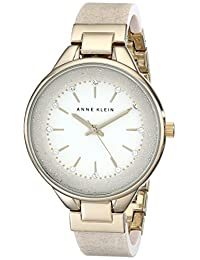 Anne Klein - Reloj de pulsera para mujer con cristales de Swarovski, AK-1408CRCR, Crema/Dorado, Una talla