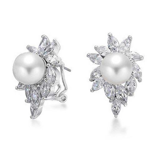Omega Pearl Ring (Bling Jewelry Sunburst Simulated Pearl CZ Omega Earrings Rhodium Plated Brass)