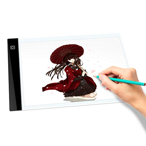 A4 LED Tracing Light Box Tracer USB Power 0.4CM Thin Portable 3-Level Brightness Eye-Protected Pad Board Digital Gifts for Kids Artists,Drawing,Animation,Tattoo with Paper Clip -