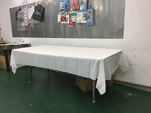 12 Pack Heavy Duty Durable Plastic Tablecloth 54 in X 108 in White Premium Quality