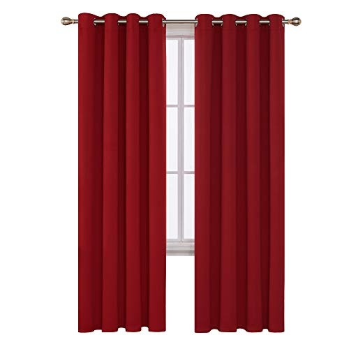 2 Panel Curtain Set - Deconovo Grommet Blackout Curtains Room Darkening Thermal Insulated Curtains for Sliding Glass Door 52x96 Inch True Red Set of 2 Panels