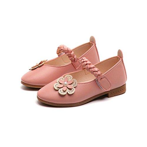 TPulling Mode Sommer Und Frühling�?T-8.5T﹜Kinder Mode Mädchen﹛Geflochten Blumen Perlen﹜Leder Weben Floral Prinzessin Sandelholz Weichen Schuhe Turnschuhe Lässige Einzelne Schuhe Rosa