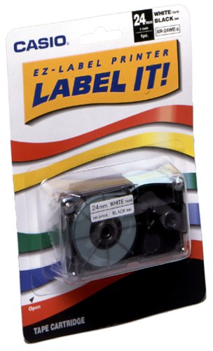 Casio XR-24XS 24mm Labelling Tape for KL-8100 Label Printer (Black on (Casio Ez Label Tape)