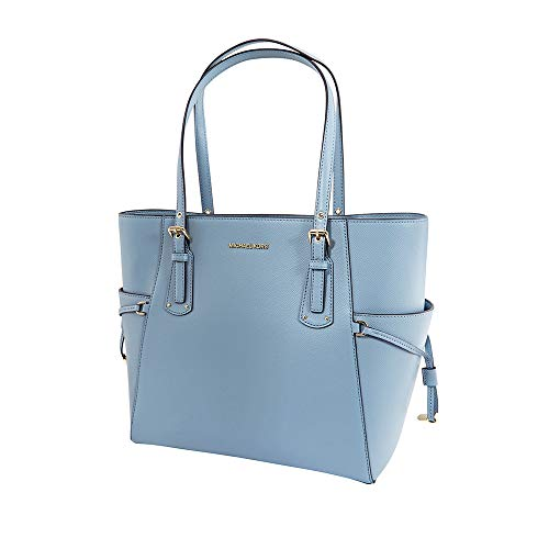 MICHAEL Michael Kors Mercer Leather Crossbody (One Size, Powder Blue) (Light Blue Michael Kors Handbags)
