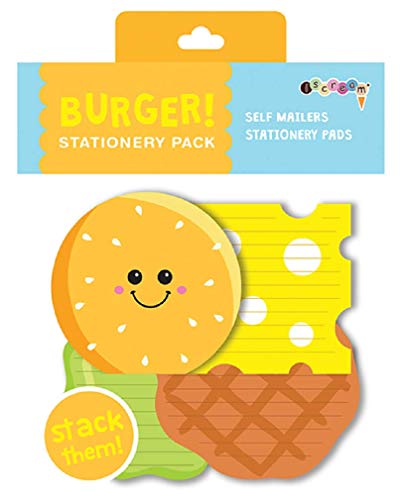 iscream Burger Buddies Stack and Send Creative Stationery Sheets with 12 Mailers