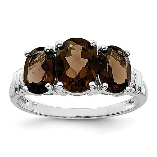 925 Sterling Silver 3 Stone Smoky Quartz Diamond Band Ring Size 7.00 Gemstone Fine Jewelry Gifts For Women For Her