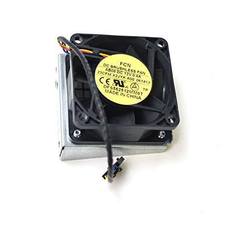 X2JYK Genuine Dell Precision T7600 Lower Rear Fan Assembly w/Bracket 1B23M9H00 Cable 5-Pin Black Header Connector 4-Wire Blue Black Red Yellow DFS562512MM0T 12V AB08 DC brushless 23CFM 2.25mm x 6mm