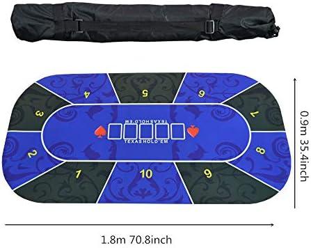 Professional Poker Mats, Table Top indeling- met draagtas, rubberschuimmateriaal, voor maximaal 10 spelers, Gezin & Gift, 3mm dik 70 x 35 Inch Blue