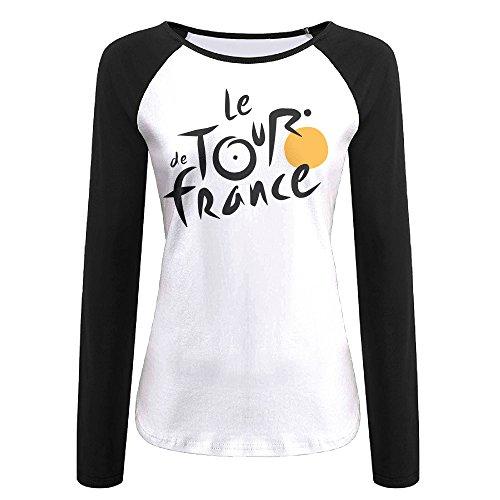 Creamfly Womens Tour De France Long Sleeve Raglan Baseball Tshirt XXL