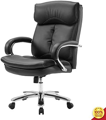 High Back Home Office Chair, Thick Padded Heavy Duty with Big Steady Base and Lumbar Support for Comfort Design, Tilt Adjustable Mechanism, Black-a