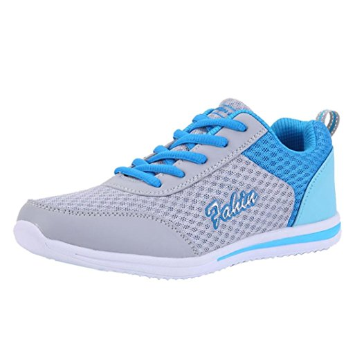 Look Women Blue Flats Shoes New Lightweight Running Walking Up Fashion Sports Outdoor Sneakers Casual Tie 1rgqH17