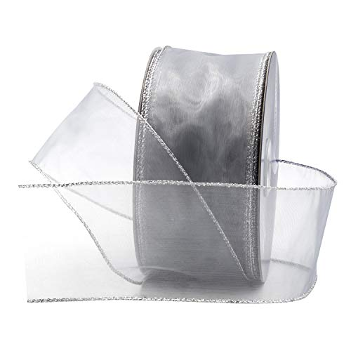 Metallic Wired Ribbon (Silver Organza Wired Sheer Ribbon 2.75