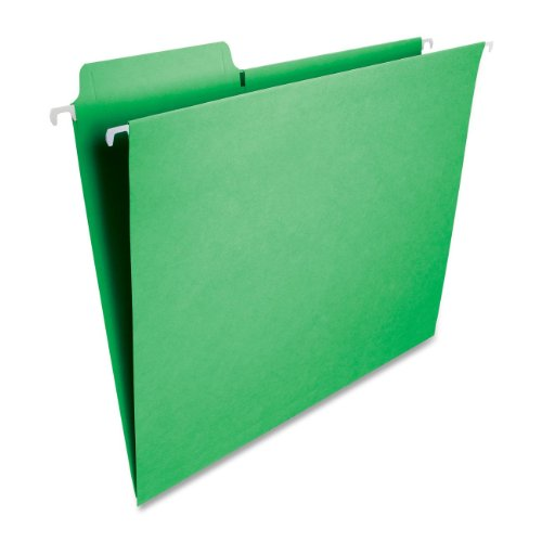 Cut Green Hanging File Folders - Smead FasTab Hanging File Folder, 1/3-Cut Built-In Tab, Letter Size, Green, 20 per Box (64098)