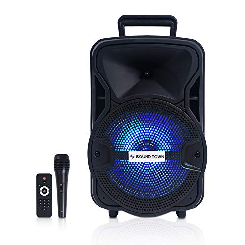 Way Hopper - Sound Town 8-inch 2-Way Portable PA Speaker with Built-in Rechargeable Battery, 1 Wired Mic, Bluetooth, USB, SD Card Reader, LED Light (OPIK-8PS)