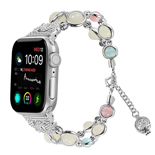 for Apple Watch Band 44mm Nightlight Bead Hybrid Sweatproof iWatch Strap Replacement Bands with Stainless Metal Clasp for Apple Watch Series 4 (Silver)