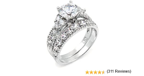 amazoncom sterling silver cubic zirconia cz wedding engagement ring set jewelry - Fake Wedding Rings