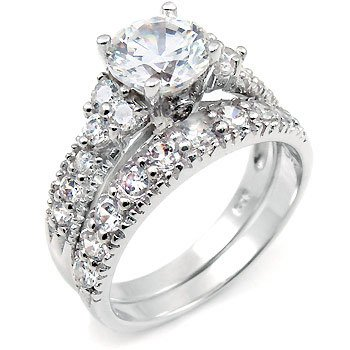 Sterling Silver Cubic Zirconia CZ Wedding Engagement Ring Set Sz 4