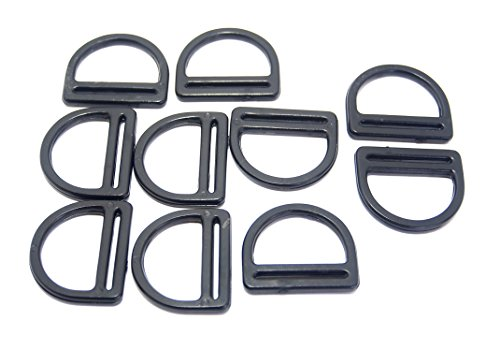 lack Plastic D Ring Buckle for 1 Inch Webbing ()